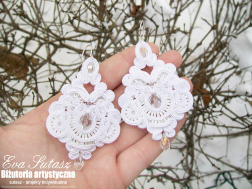"Komplet biżuterii ""Wedding snow"" sutasz (soutache)"