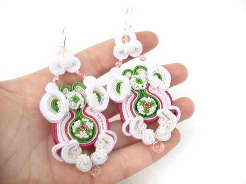 "Kolczyki ""Green apple and peony"" sutasz (soutache)"