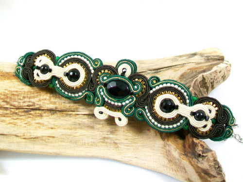 "Bransoletka ""Emerald dream"" sutasz (soutache)"