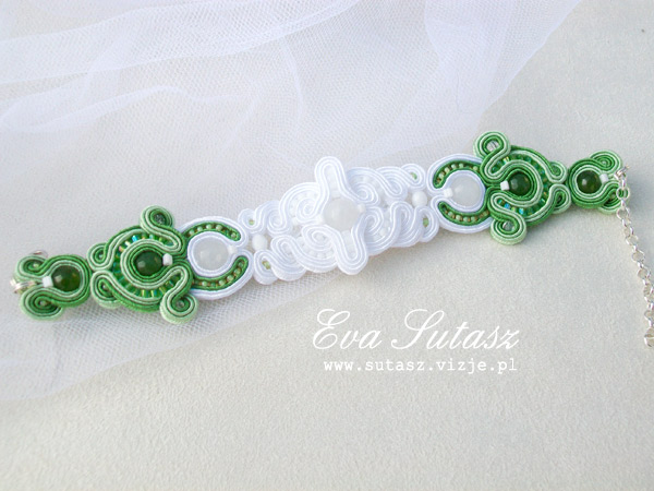 "Komplet biżuterii ""Green Wedding"" sutasz (soutache)"