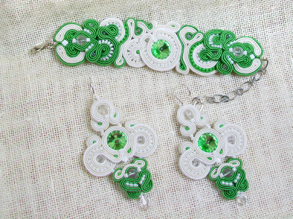 "Komplet biżuterii ""Green wedding - 2"" sutasz (soutache)"
