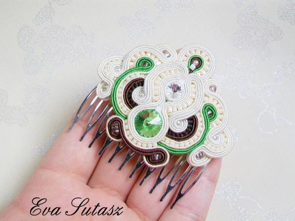 "Komplet biżuterii "" Cream, brown and green"" sutasz (soutache)"