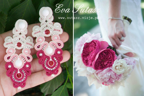 "Kolczyki sutasz ""Light pink peonies and white roses"" soutache"