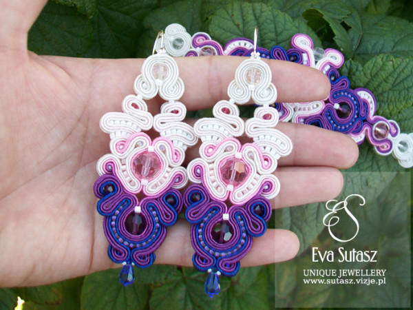 "Komplet sutasz ""Pink, purple and cornflower"" soutache"
